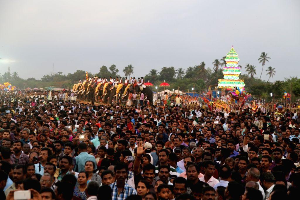 "Elephants participate in ""Kollam Pooram"" - a ten-day festival in Kollam district of Kerala on April 16, 2016."