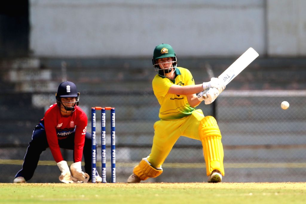 Elyse Villani of Australia in action during the women's tri-series Final T20I match between Australia and England at the Brabourne Stadium in Mumbai on March 31, 2018.