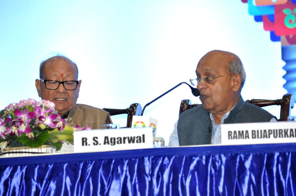 Emami Limited Co-founder and Whole-time Director R.S. Goenka and Founder and Executive Chairman R.S. Agarwal during the Company's Annual General Meeting (AGM), in Kolkata on Aug 1, 2018. - S. Goenka