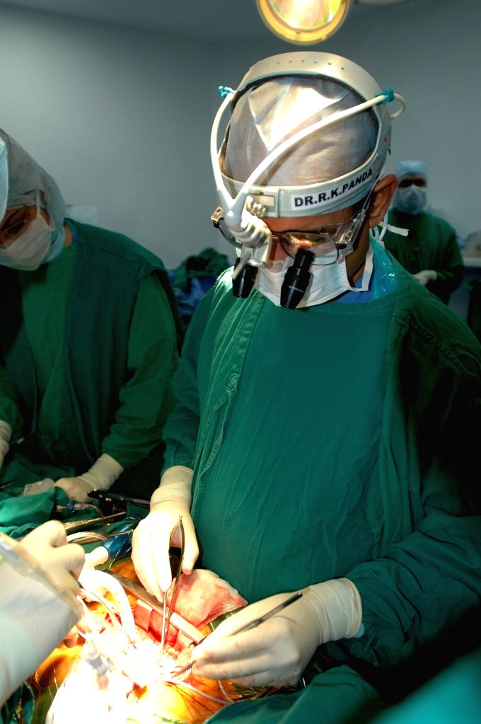 Eminent cardiologist and Asian Heart Institute Vice-Chairman Dr. Ramakanta Panda, performing a heart surgery, in Mumbai.