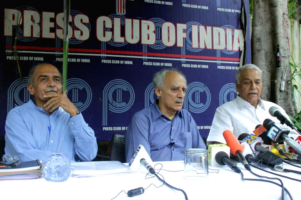 Eminent lawyer Prashant Bhushan, economist and journalist Arun Shourie and former BJP leader Yashwant Sinha address a press conference in New Delhi on Sept 11, 2018. - Yashwant Sinha