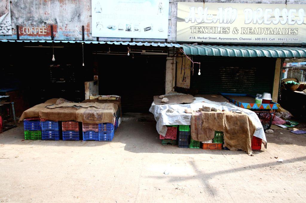 Empty Markets in chennai on Monday, 24 May, 2021.