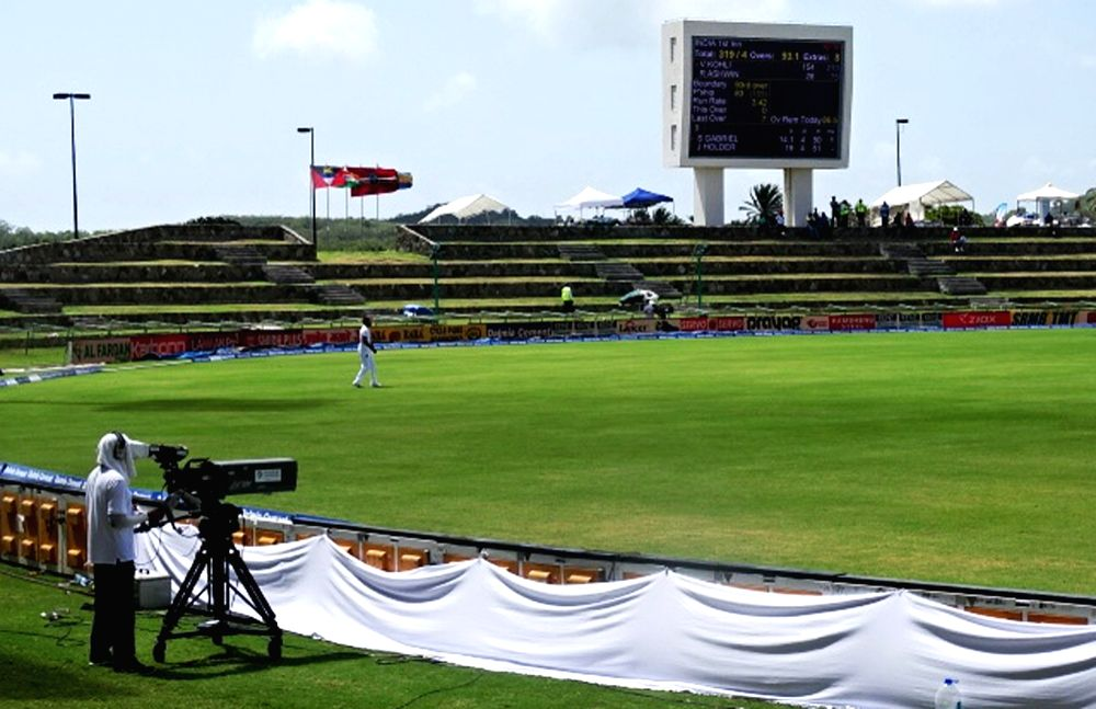 Empty stands during the first test match between India and West Indies at Sir Vivian Richards Stadium in Antigua on July 22, 2016.