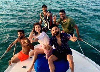 Endless blues: Team India members enjoy on cruise in Windies