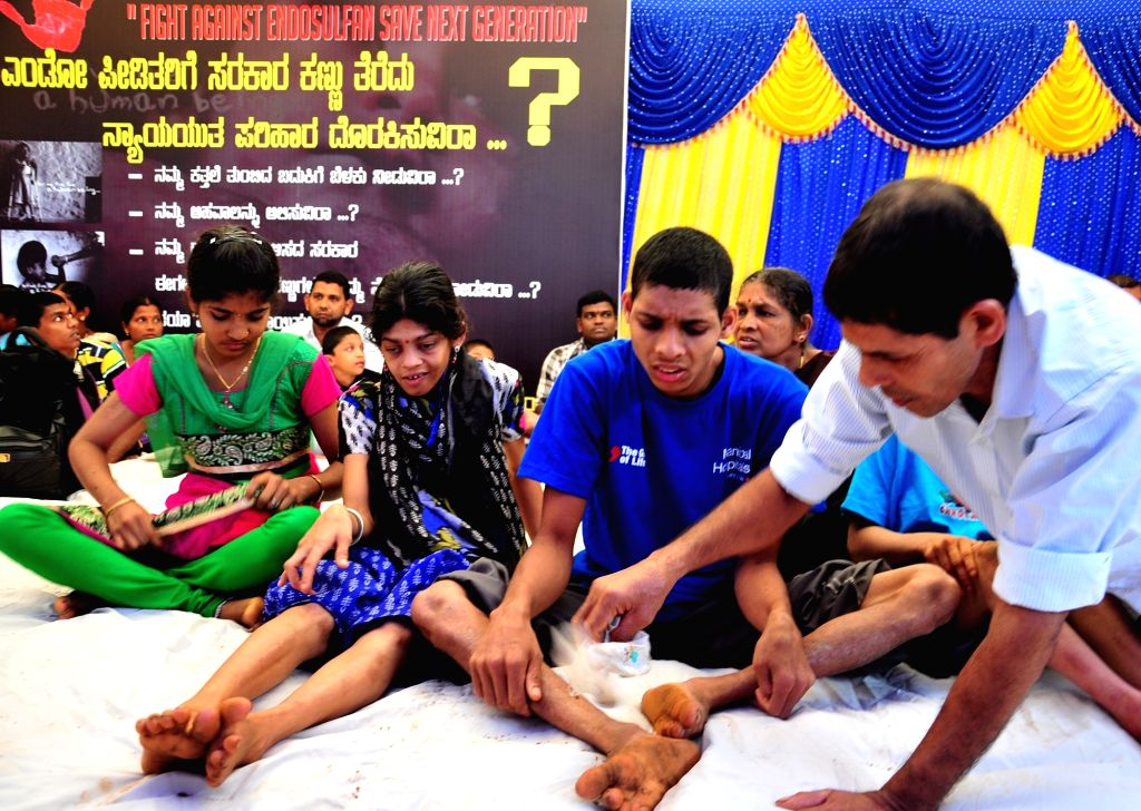 Endosulfan victims participate in `Fight against Endosulfan Save Next Generation`- an awareness campaign, in Bengaluru, on Nov 18, 2015.