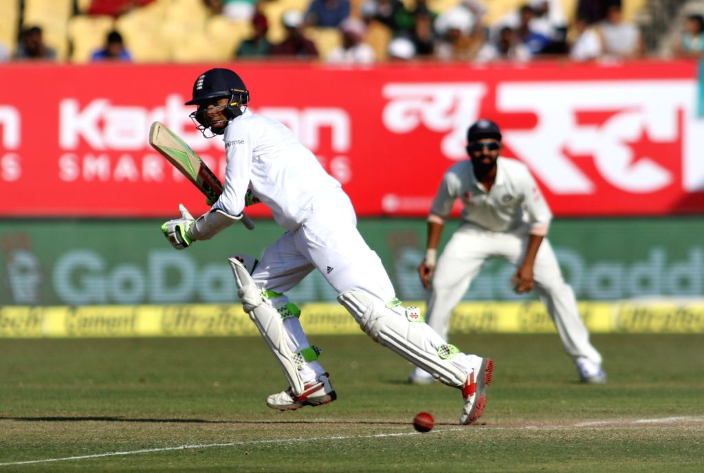 England batsman Haseeb Hameed bats on the fourth day of the first test match between India and England in Rajkot on Nov. 12, 2016. - Haseeb Hameed