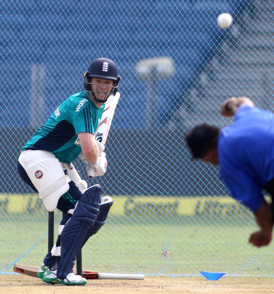 England captain Eoin Morgan during a practice session ahead of the 1st ODI match between India and England at Maharashtra Cricket Association Stadium, Pune on Jan 14, 2017. - Eoin Morgan