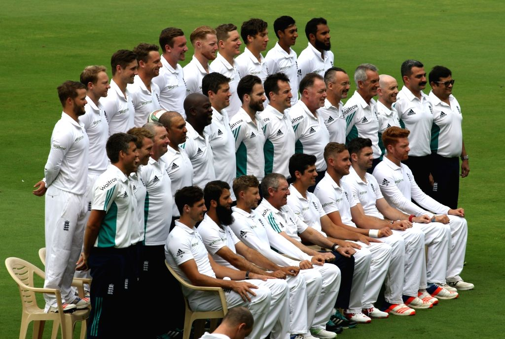England cricketers pose for a group photo ahead of their 2nd Test match against India in Visakhapatnam on Nov 16, 2016.