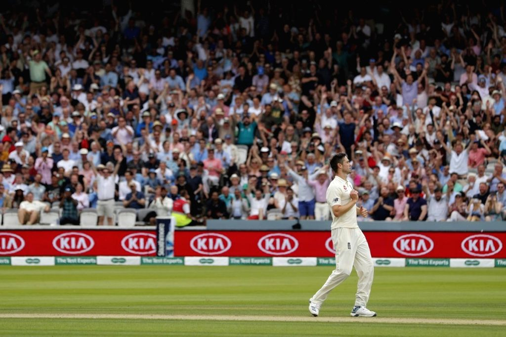England's Chris Woakes in action on day 3 of the only Test between Ireland and England at the Lord's Cricket Stadium in London, England on July 26, 2019.