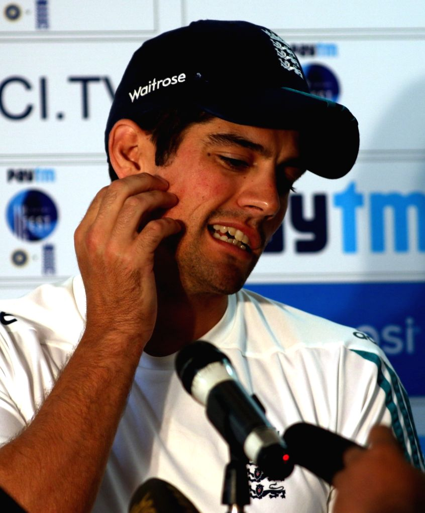 England's cricket captain Alastair Cook addresses a press conference in Visakhapatnam on Nov 16, 2016. - Alastair Cook