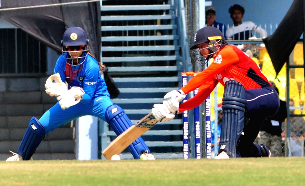 England's Danielle Wyatt plays a shot during the third Women's T20I match between India and England at Barsapara Cricket Stadium in  Guwahati on March 9, 2019.
