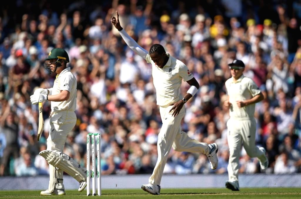 England's Jofra Archer celebrates fall of a wicket on Day 2 of the 5th Test match between England and Australia at Kennington Oval in London on Sep 13, 2019.