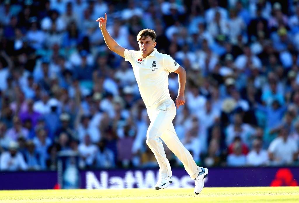 England's Sam Curran celebrates fall of a wicket on Day 2 of the 5th Test match between England and Australia at Kennington Oval in London on Sep 13, 2019.