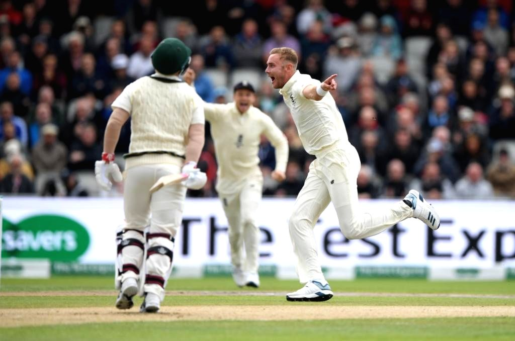 England's Stuart Broad celebrates fall of a wicket on Day 1 of the 4th Test match between Australia and England at Old Trafford, in Manchester on Sep 4, 2019.