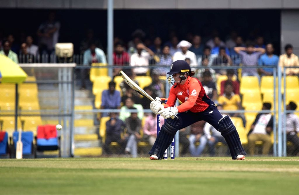 England's Tammy Beaumont in action during the first T20I match between India and Australia at Barsapara Cricket Stadium in Guwahati on March 4, 2019.