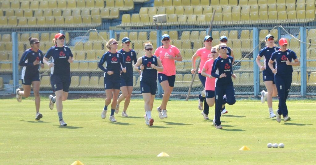 England's women cricket team players during a practice session ahead of the women's T20 cricket match against India, at Barshapara Cricket Stadium, in Guwahati on March 2, 2019.