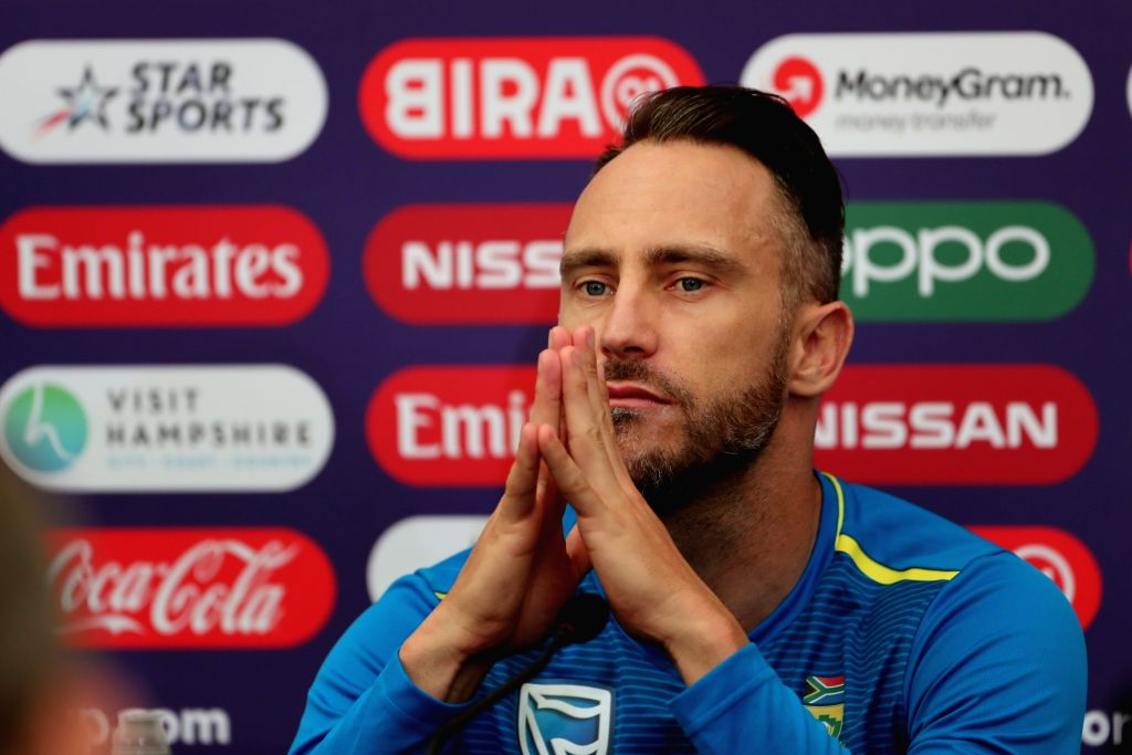 England: South African skipper Faf du Plessis at a press conference ahead of his team's 2019 ICC Cricket World Cup match against India, at the Rose Bowl Cricket Ground in Hampshire, England on June 4, 2019. (Photo: Surjeet Yadav/IANS) - Surjeet Yadav