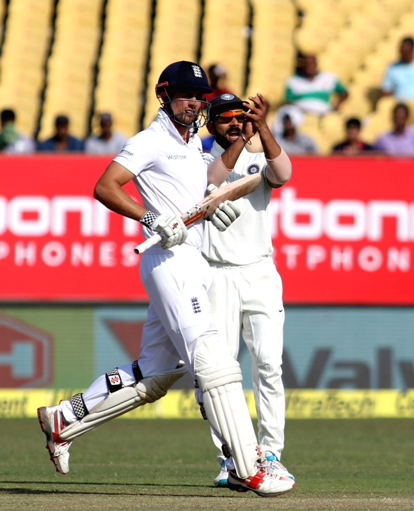 England test captain Alastair Cook bats on the fourth day of the first cricket test match between India and England in Rajkot, India, on Nov. 12, 2016. - Alastair Cook