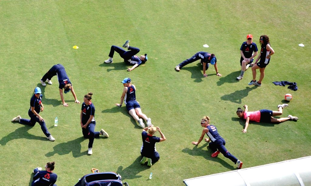 England women cricketers during a practice session ahead of their T20 International Cricket match against India at ACA Cricket Stadium Barsapara, in Guwahati on March 3, 2019.