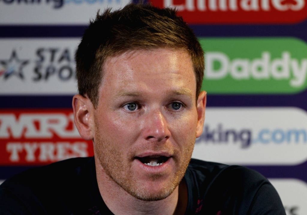 English captain Eoin Morgan addresses a press conference on the eve of England's World Cup 2019 match against India at Edgbaston Stadium in Birmingham, England on June 29, 2019. (Photo: Surjeet Yadav/IANS) - Eoin Morgan and Surjeet Yadav