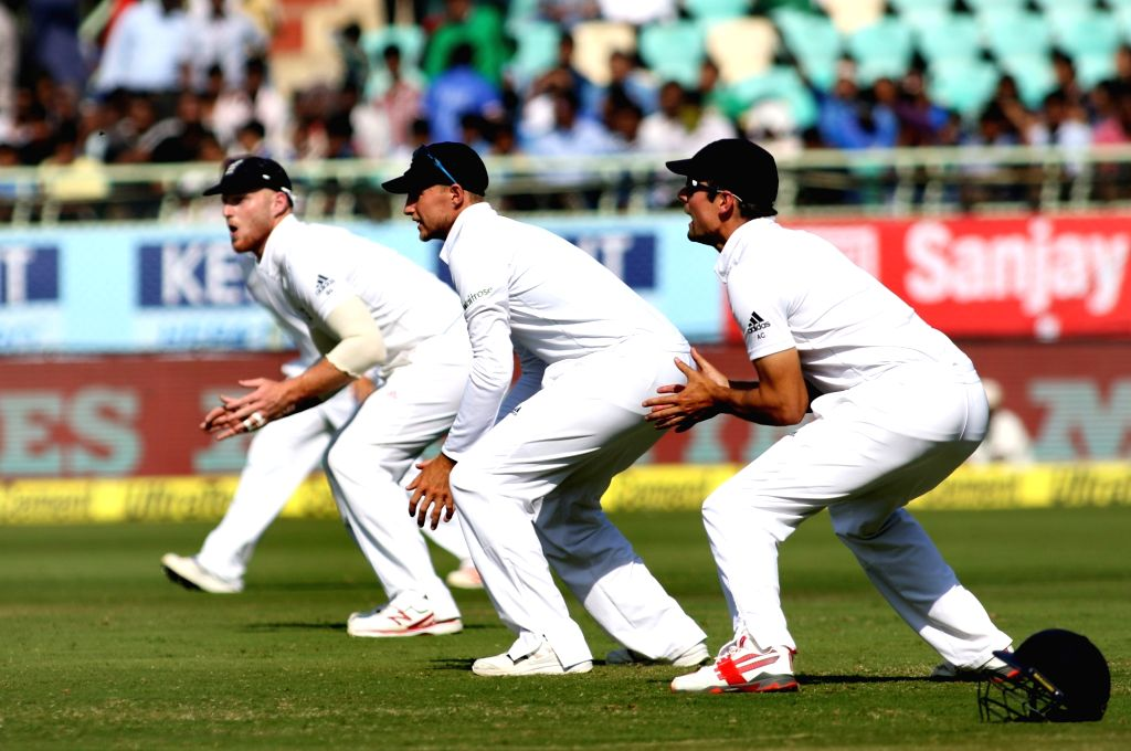 English cricket team fielders wait for the ball during day three of the 2nd test match between India and England at the Dr. Y.S. Rajasekhara Reddy ACA-VDCA Cricket Stadium in ...