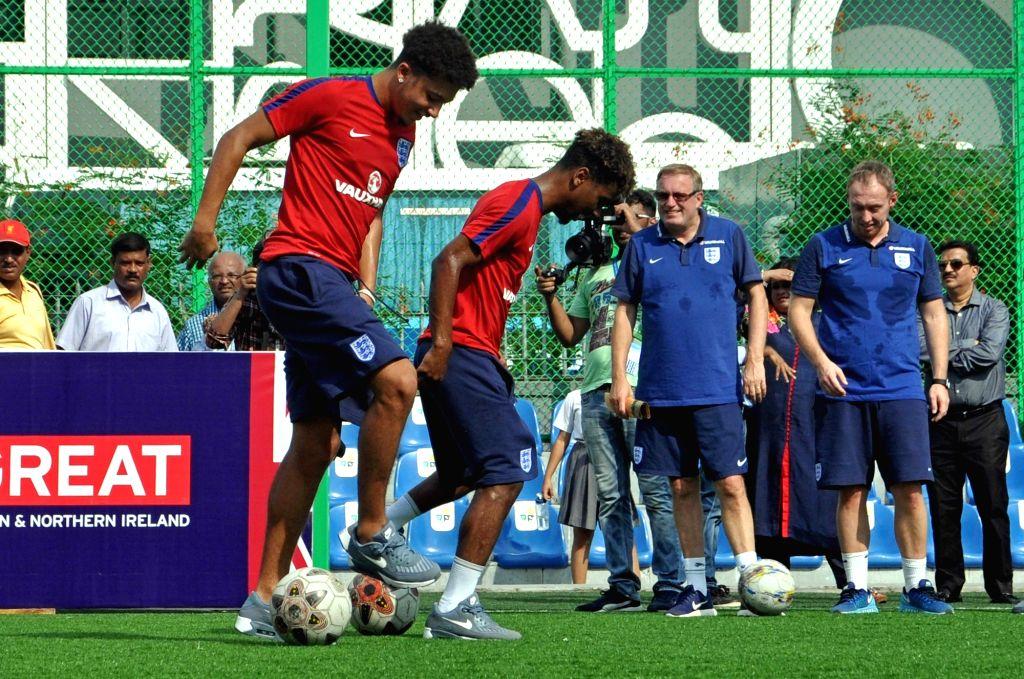 English FIFA U-17 Jadon Sancho, Angel Gomes, Joel Latibeaudiere interact with school students at New Town in Kolkata on Oct 12, 2017.
