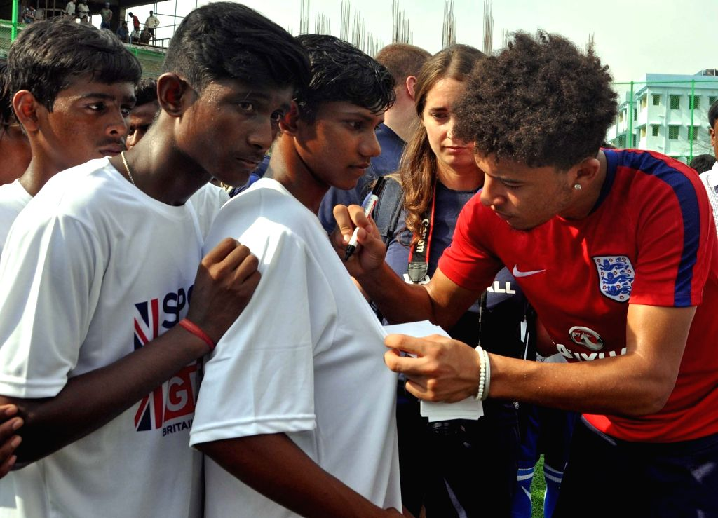 English FIFA U-17 player Jadon Sancho interacts with school students at New Town in Kolkata on Oct 12, 2017.