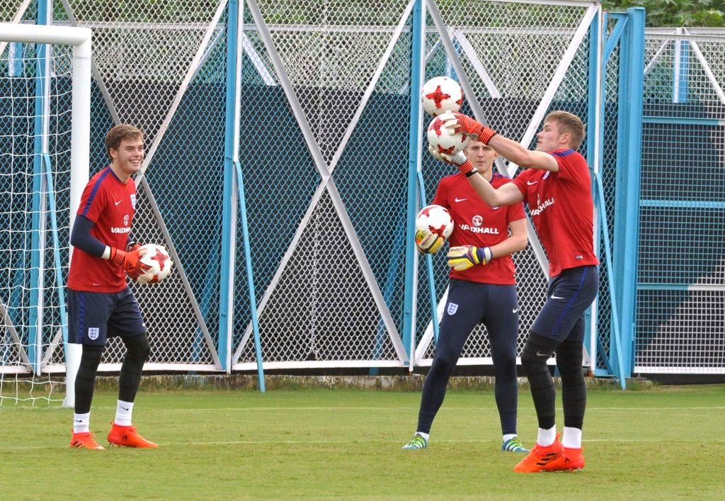 English goalkeepers during a practice session ahead of FIFA U17 World Cup at SAI Ground in Kolkata, on Oct 5, 2017.