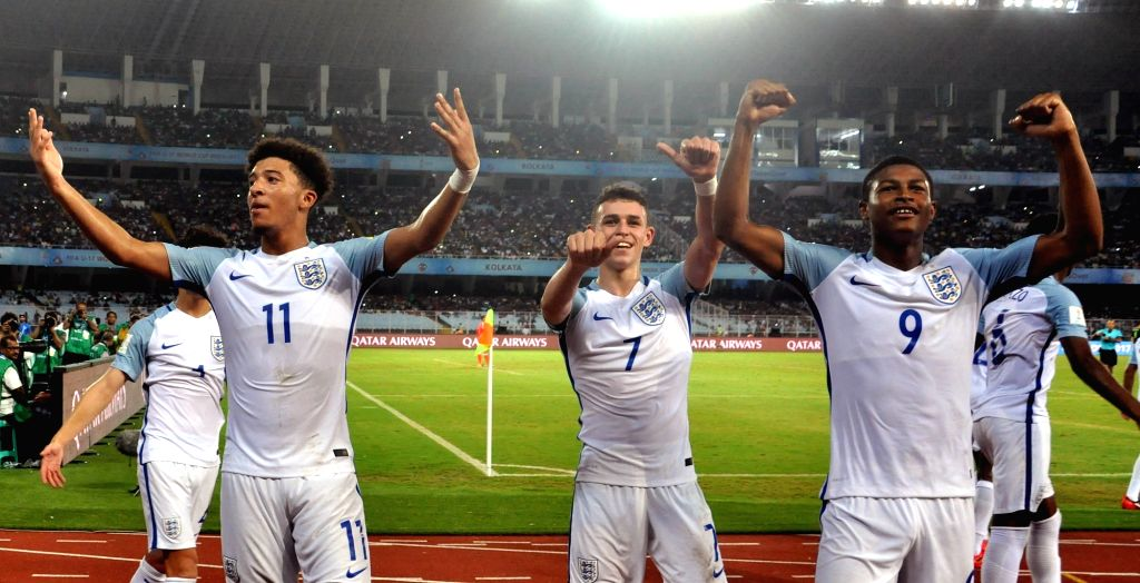 English players celebrate during the FIFA U17 World Cup India 2017 Group F match against Mexico at Salt Lake Stadium in Kolkata on Oct 11, 2017.