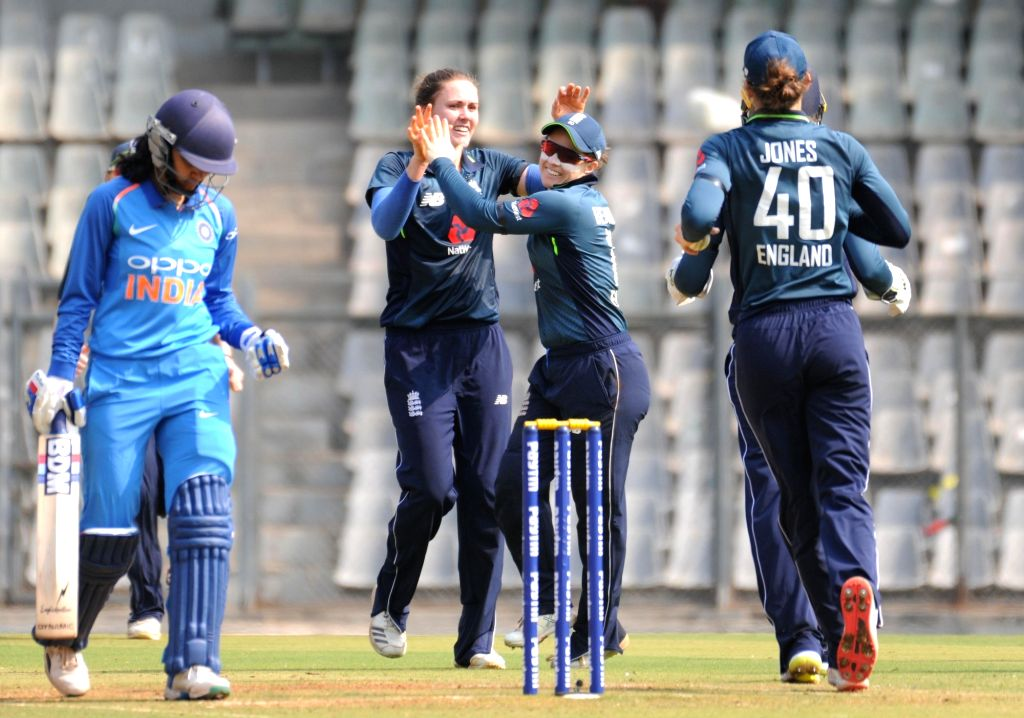 English players celebrate fall of a wicket during the 1st ODI match of ICC Women's Championship between India and England at Wankhede Stadium in Mumbai, on Feb 22, 2019.