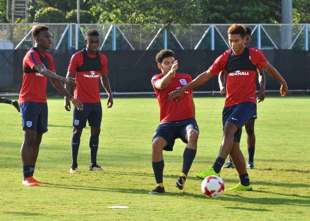 English players during a practice session ahead of a FIFA U 17 World Cup India 2017 match against Mexico at Salt Lake Stadium in Kolkata on Oct 10, 2017.