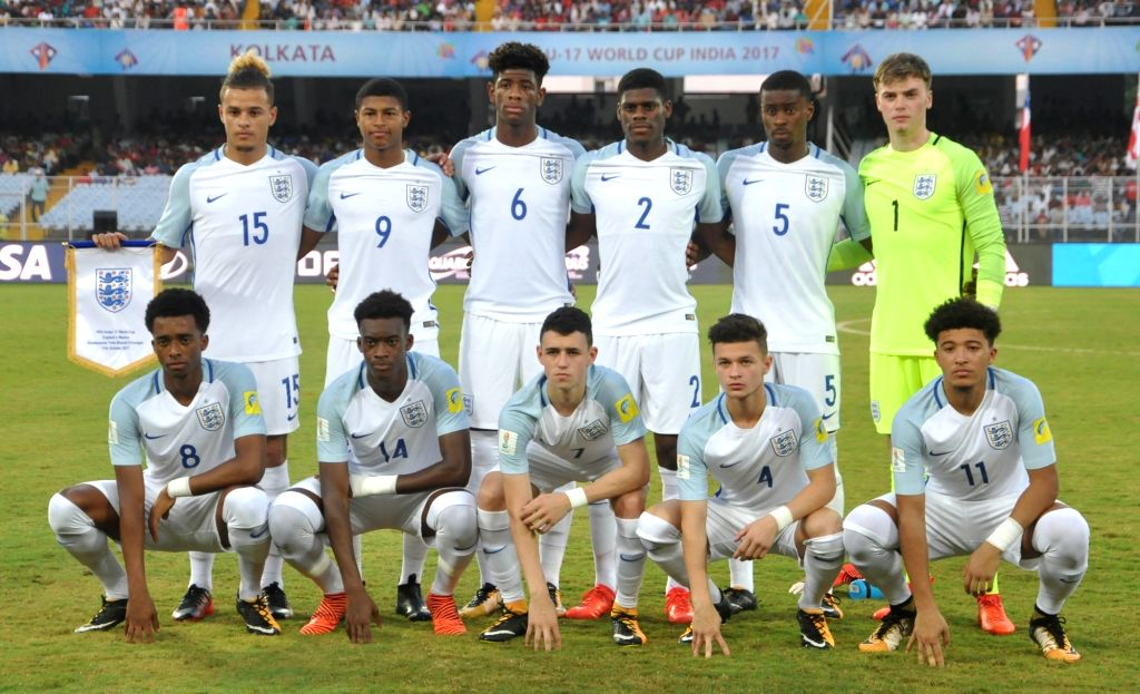 English players during the FIFA U17 World Cup India 2017 Group F match against Mexico at Salt Lake Stadium in Kolkata on Oct 11, 2017.