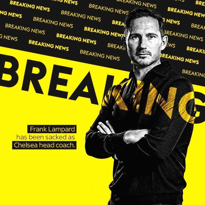 English Premier League club Chelsea have relieved their iconic player and head coach Frank Lampard of immediate effect.. (Credit : Twitter @ChelseaFC)