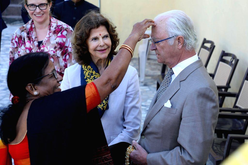 Environmentalist Sunita Narain receives King Carl XVI Gustaf and Queen Silvia of Sweden at the Ram Jhula in Rishikesh on Dec 5, 2019.