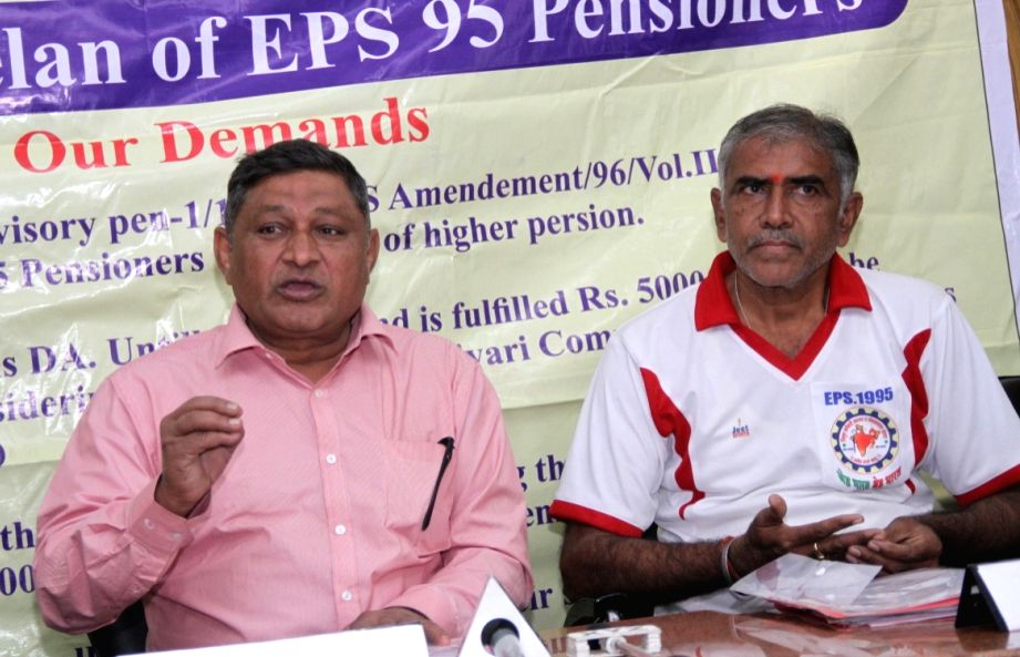 EPS 95 National Agitation Committee members during a press conference in New Delhi, on Dec 4, 2017.