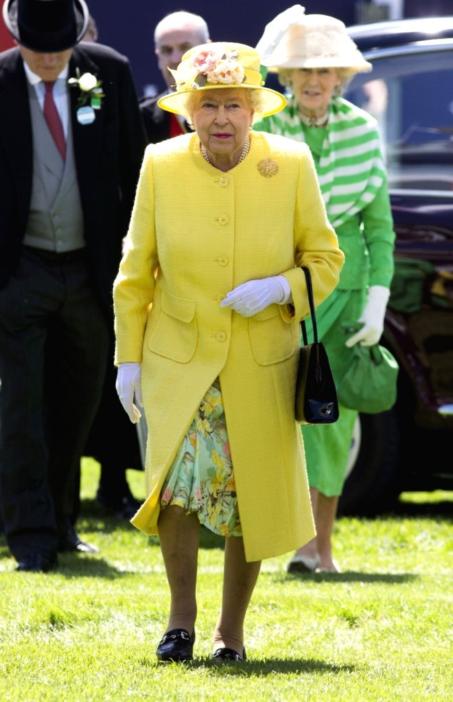 EPSOM (BRITAIN), June 3, 2017 Queen Elizabeth II watches horse race from the royal balcony during Derby Day at Epsom Derby festival in Epsom, Britain on June 3, 2017.