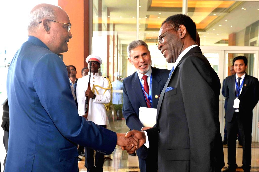 Equatorial Guinea President Teodoro Obiang Nguema Mbasogo receives President Ram Nath Kovind on his arrival at Presidential Palace in Malabo, Equatorial Guinea on April 8, 2018. - Nath Kovind