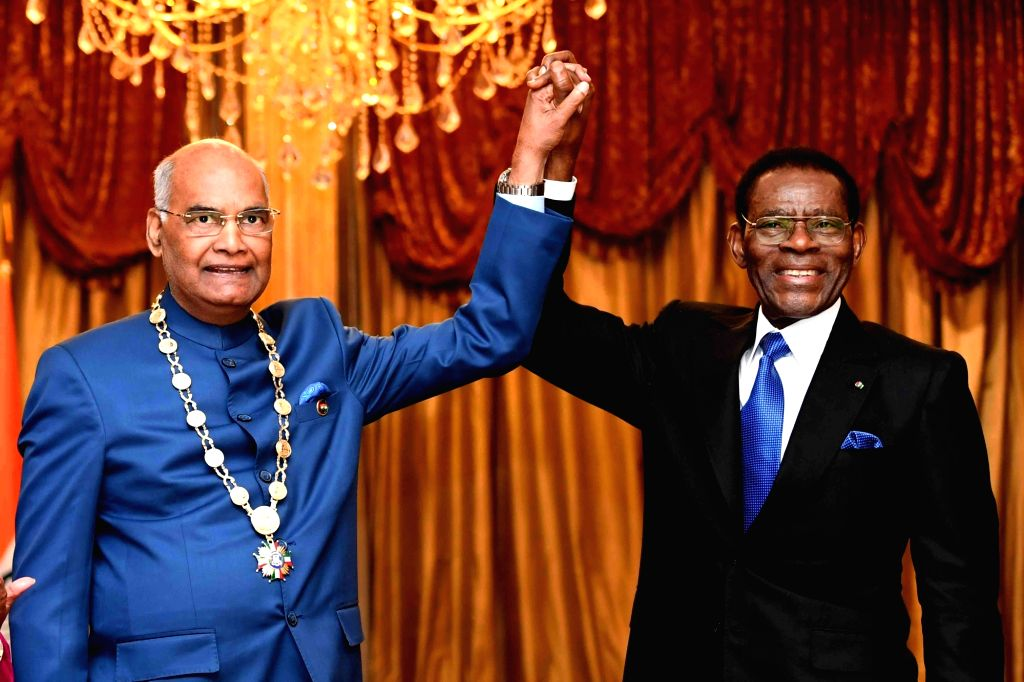 Equatorial Guinea President Teodoro Obiang Nguema Mbasogo with President Ram Nath Kovind during a programme where he was conferred with the Condecoracion - the highest honor accorded to a ... - Nath Kovind
