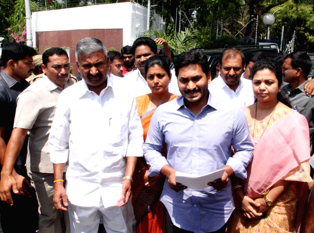 er of opposition in Andhra Pradesh Assembly Y. S. Jaganmohan Reddy comes out after meeting Governor of Andhra Pradesh and Telangana, ESL Narasimhan at Raj Bhavan in Hyderabad, on May ...