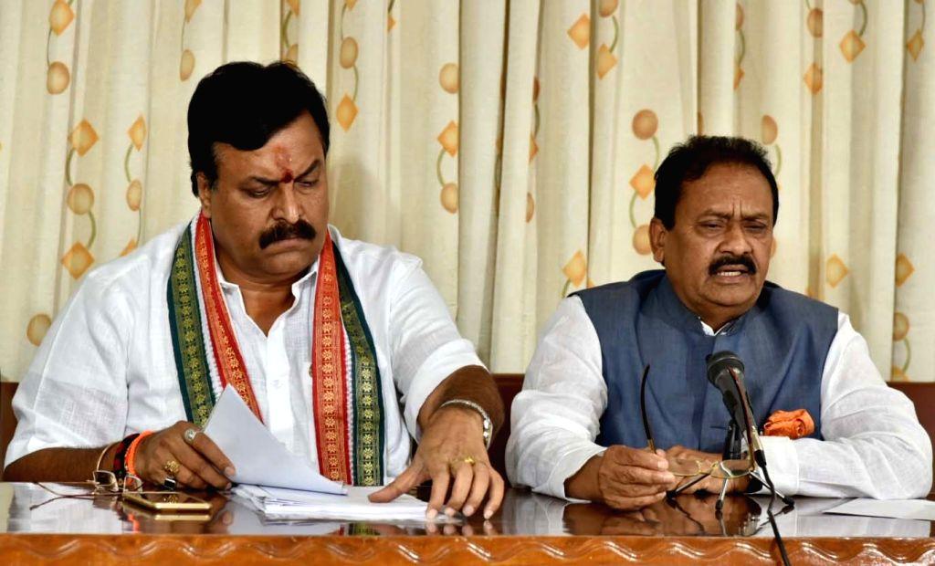 er of Opposition in Telangana Assambly Mohammed Ali Shabbir and Telangana Congress MLC P Sudhakar Reddy addresses a press conference, in Hyderabad, on July 30, 2018. - P Sudhakar Reddy