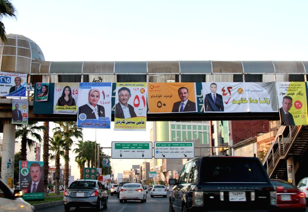 ERBIL (IRAQ), Sept. 11, 2018 Posters of candidates from different political parties are seen in Erbil of Kurdistan, Iraq, on Sept. 11, 2018. The elections campaign kicked off on Tuesday ...