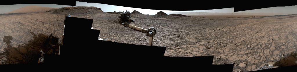 Eroded mesas and buttes are part of the horizon in the latest 360-degree colour panorama from NASA\'s Curiosity Mars rover. Credit: NASA