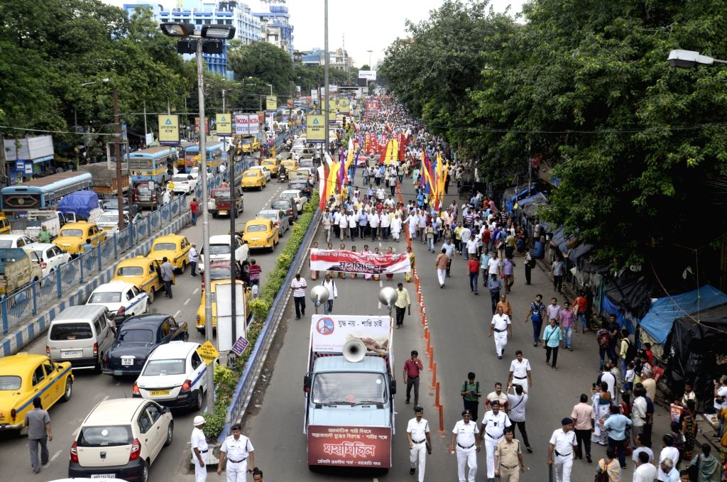 ers of leftist parties and activists of Left-affiliated organisations participate in a rally, in Kolkata on Sept 1, 2018.