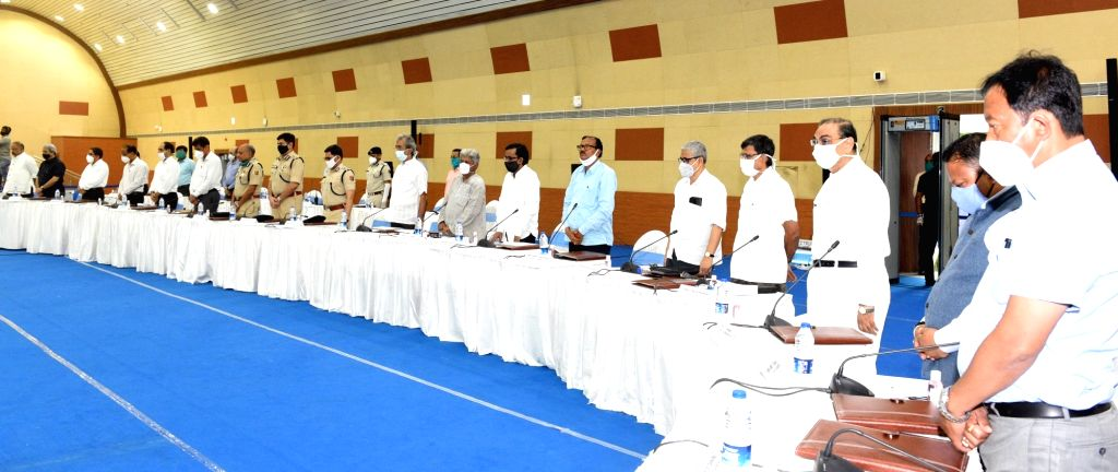 ers of various political party's attend All Party meeting at Nabanna in Howrah on June 24, 2020.