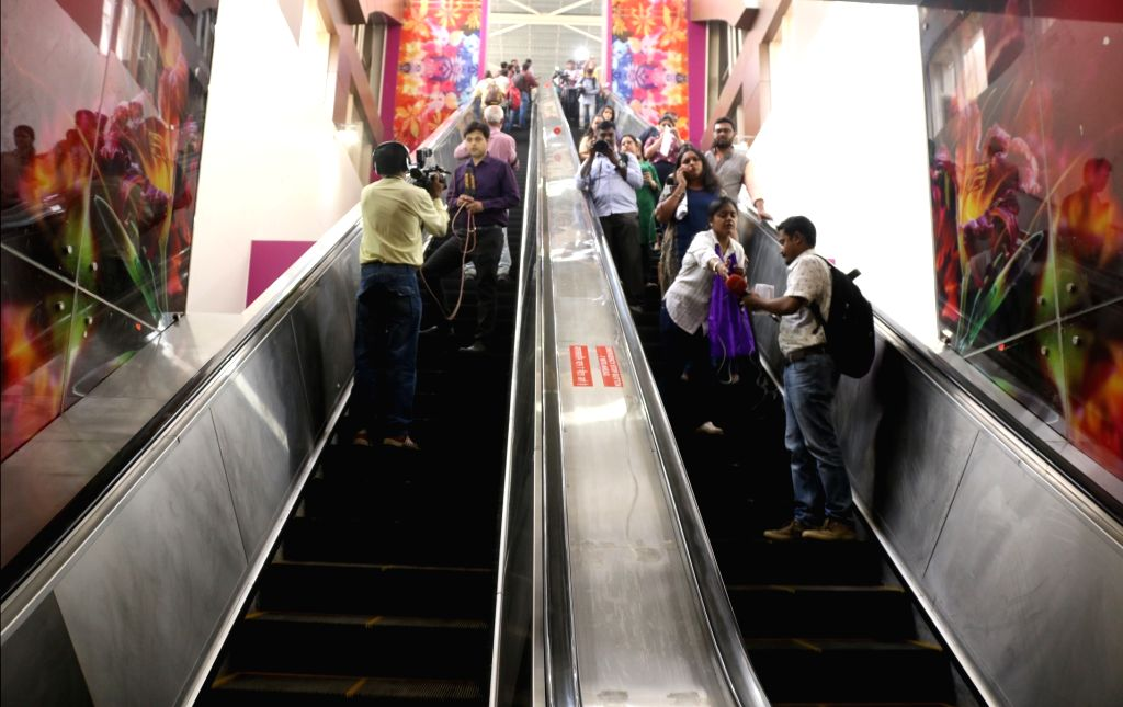 Escalators to felicitate the movement of people at a metro station on Delhi metro's magenta line that is scheduled to be thrown open to the public on May 29, in New Delhi on May 24, 2018.