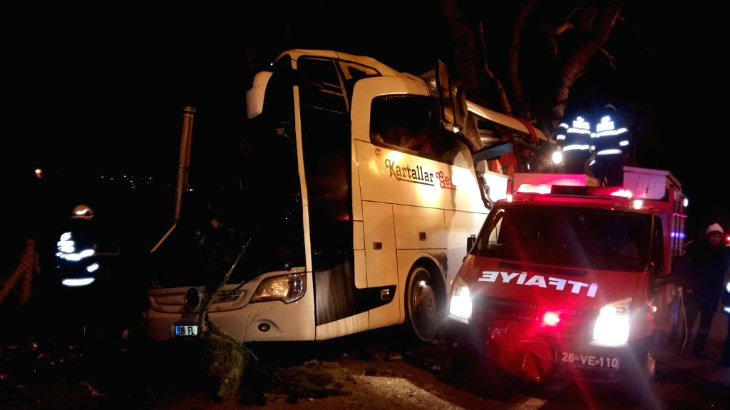 ESKISEHIR, Jan. 20, 2018 - A tourism bus hits trees on roadside in Eskisehir province, Turkey, Jan. 20, 2018. At least 11 people were killed and 44 others injured in a bus accident in Turkey's ...
