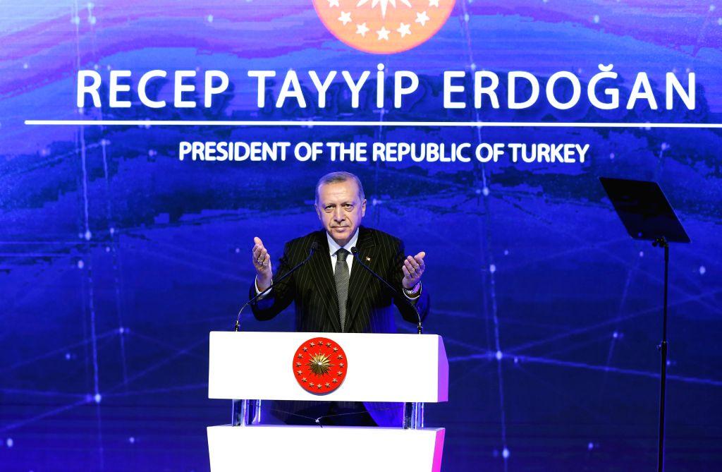 ESKISEHIR(TURKEY), June 13, 2018 Turkish President Recep Tayyip Erdogan speaks at the inaugurating ceremony in Eskisehir, Turkey, June 12, 2018. The Trans-Anatolian Natural Gas Pipeline ...