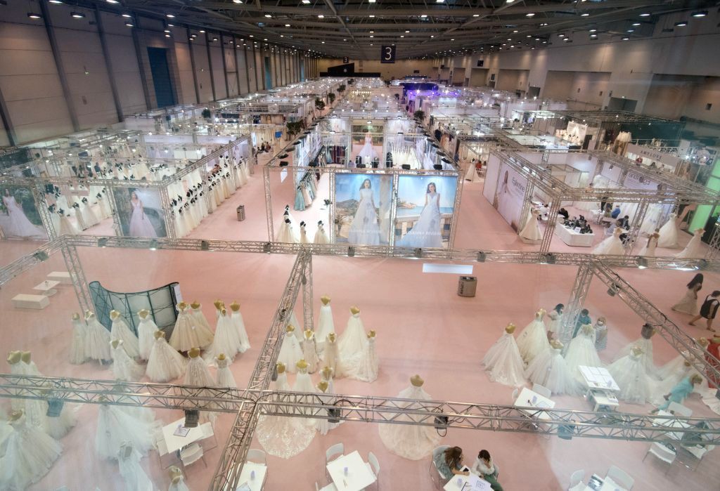 Essen (Germany), July 5, 2020 Photo taken on July 5, 2020 shows a general view of the European Bridal Week trade fair in Essen, Germany. The European Bridal Week, an international bridal ...
