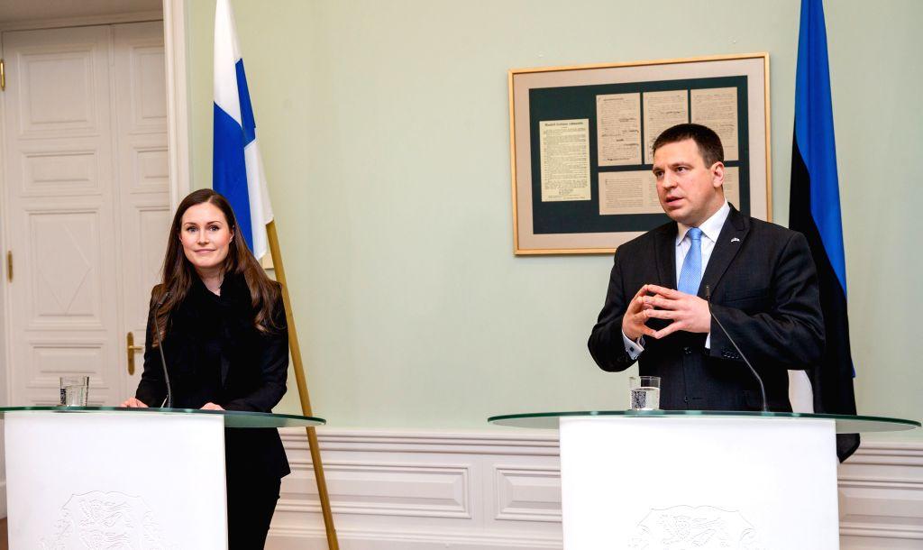 Estonian Prime Minister Juri Ratas (R) and Finnish Prime Minister Sanna Marin attend a joint press conference after their meeting in Tallinn, capital of Estonia, ... - Juri Ratas