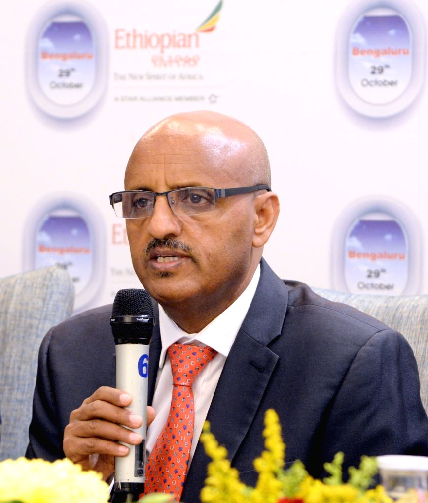 Ethiopian Airlines Group CEO Tewolde GebreMariam addresses a press conference at the launch of weekly non-stop Ethiopian Airlines flights between capital Addis Ababa and Bengaluru, on Oct ...